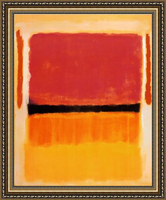 Mark Rothko Untitled Violet Black Orange Yellow on White and Red 1949 Framed Painting