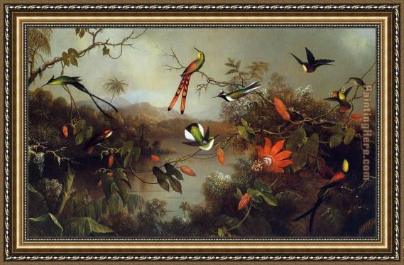 Martin Johnson Heade Tropical Landscape with Ten Hummingbirds Framed Painting