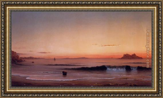 Martin Johnson Heade Twilight, Singing Beach Framed Painting