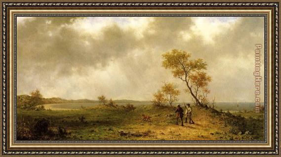 Martin Johnson Heade Two Hunters in a Landscape Framed Painting