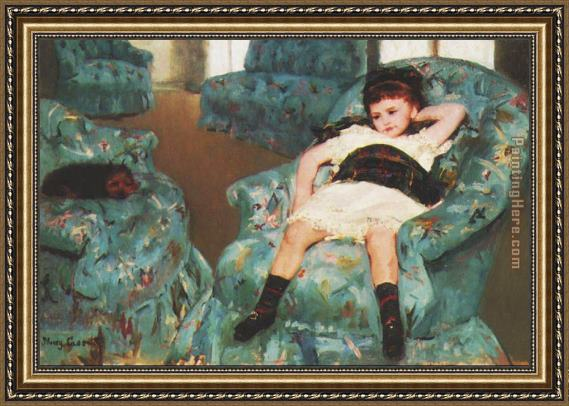 Great Mary Cassatt Little Girl In A Blue Armchair 1878 Framed Painting