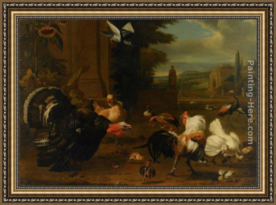 Melchior de Hondecoeter A Palace Garden with Exotic Birds and Farmyard Fowl Framed Painting