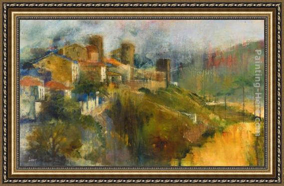 Michael Longo Hillside Town Framed Painting