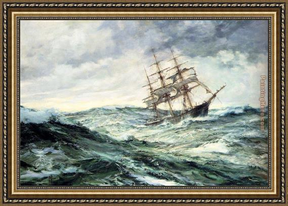 montague dawson a ship in stormy seas framed painting for