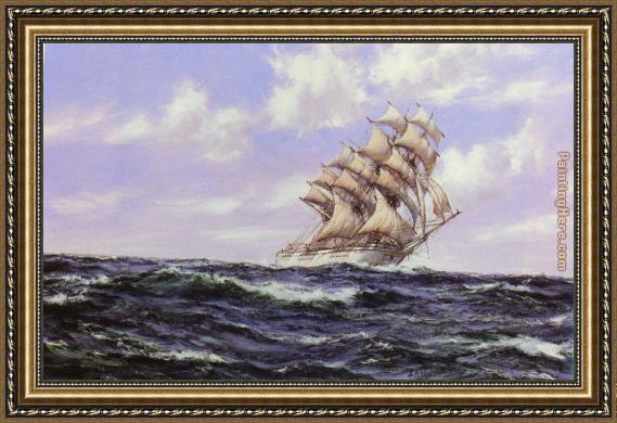 Montague Dawson The Abner Coburn. Fair Weather Framed Painting