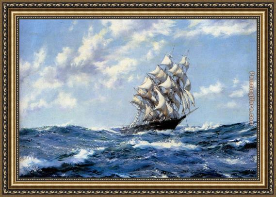 Montague Dawson The Clipper Ship Blue Jacket On Choppy Seas Framed Painting