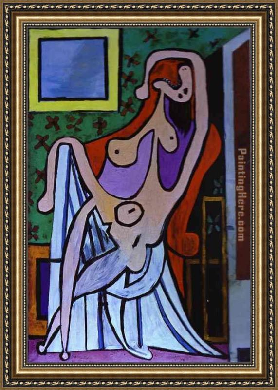 Pablo Picasso Large Nude in Red Armchair Framed Painting