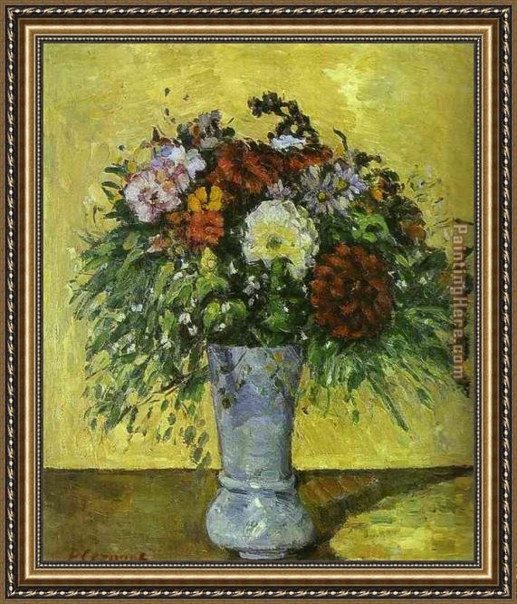 Paul Cezanne Flowers In A Blue Vase Framed Painting For Sale
