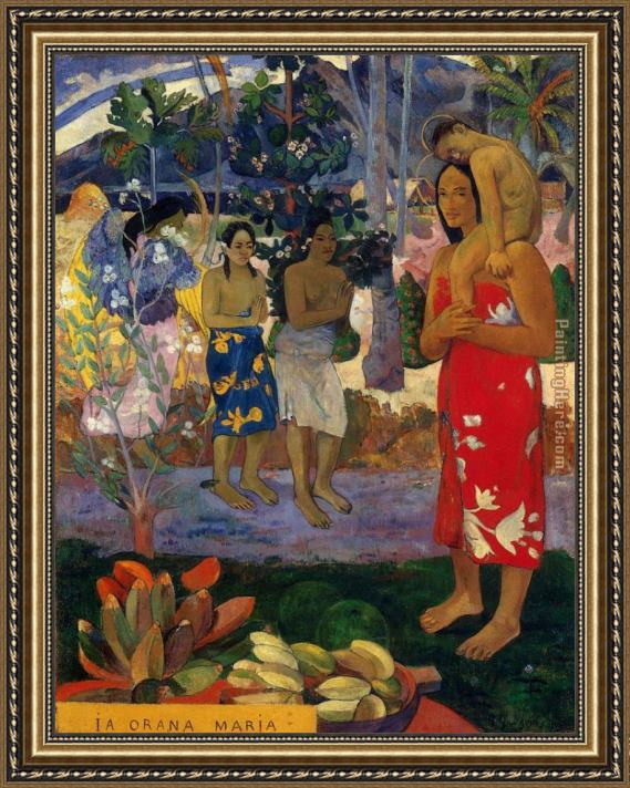 Paul Gauguin Hail Mary Framed Painting