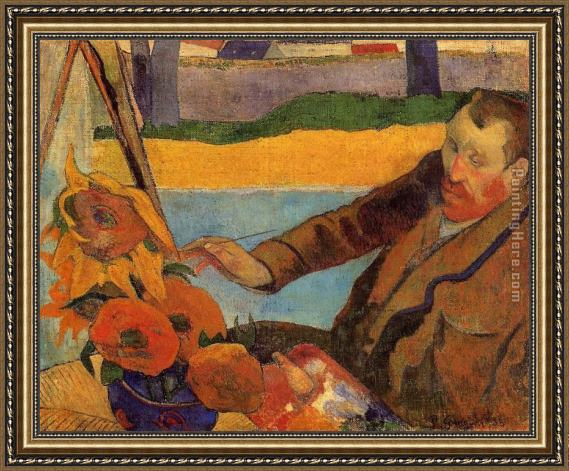 Perfect Paul Gauguin Portrait of Vincent van Gogh Painting Sunflowers  GQ94