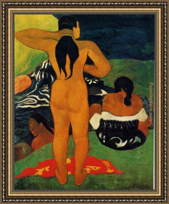 Paul Gauguin Tahitian Women Bathing Framed Painting