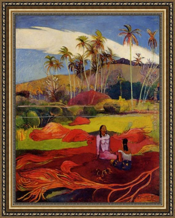 Paul Gauguin Tahitian Women under the Palms Framed Painting