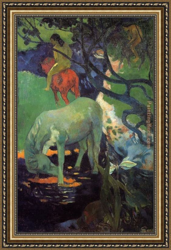 Paul Gauguin The White Horse Framed Painting for sale - PaintingHere.com