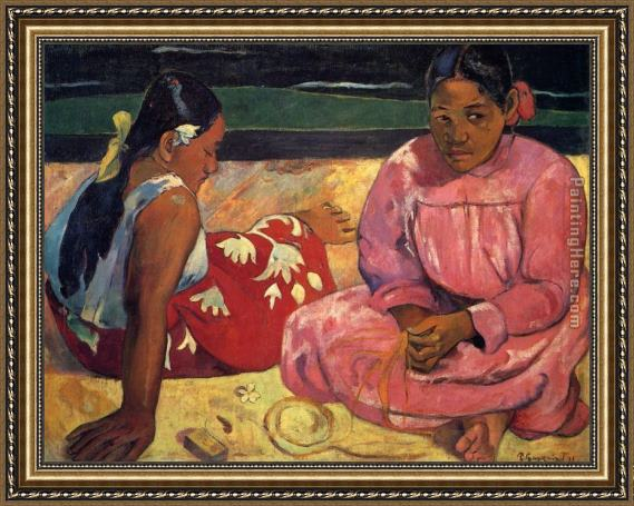 Paul Gauguin Two Women on Beach Framed Painting