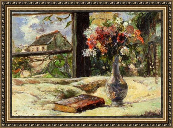 Paul Gauguin Vase of Flowers and Window Framed Painting
