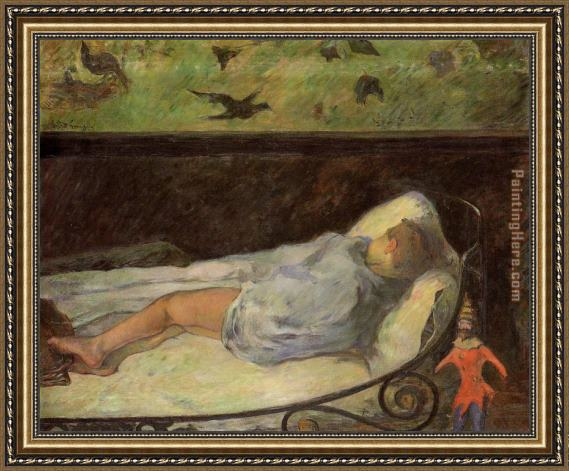 Paul Gauguin Young Girl Dreaming Framed Painting