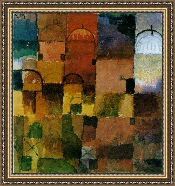 Paul Klee Red And White Domes Framed Painting
