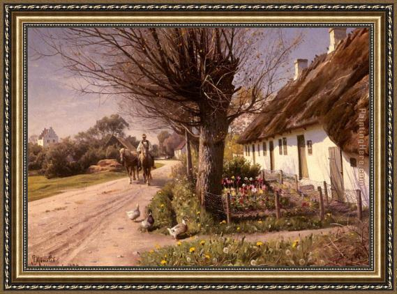Peder Mork Monsted Cottages At Hjornbaek Framed Painting