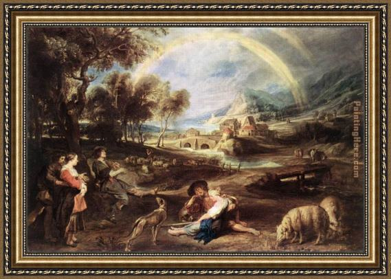 Peter Paul Rubens Landscape with a Rainbow Framed Painting