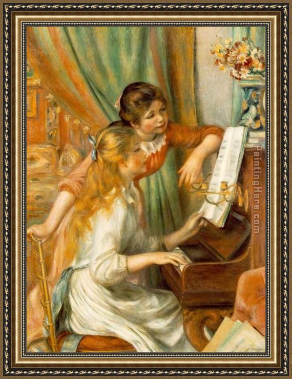 Pierre Auguste Renoir Girls at The Piano Framed Painting