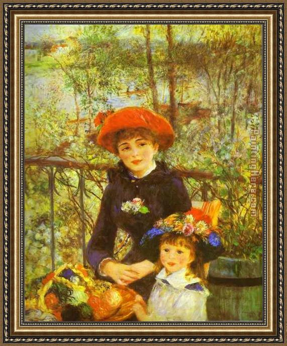 Pierre Auguste Renoir Two Sisters (On the Terrace) Framed Painting