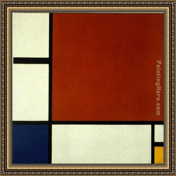 Piet Mondrian Composition II in Red Blue and Yellow Framed Painting