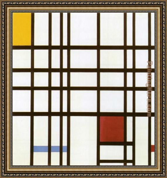 Piet Mondrian Composition with Red Yellow and Blue Framed Painting