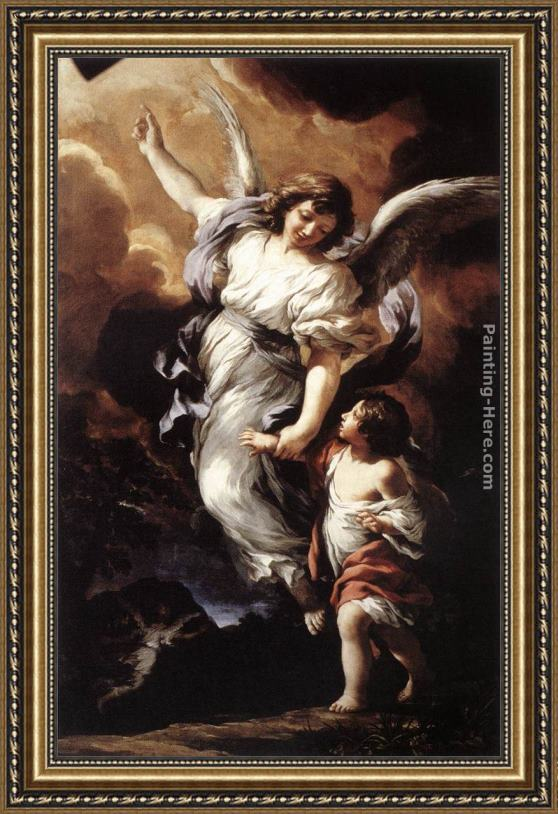 Pietro da cortona the guardian angel framed painting for for Angel paintings for sale
