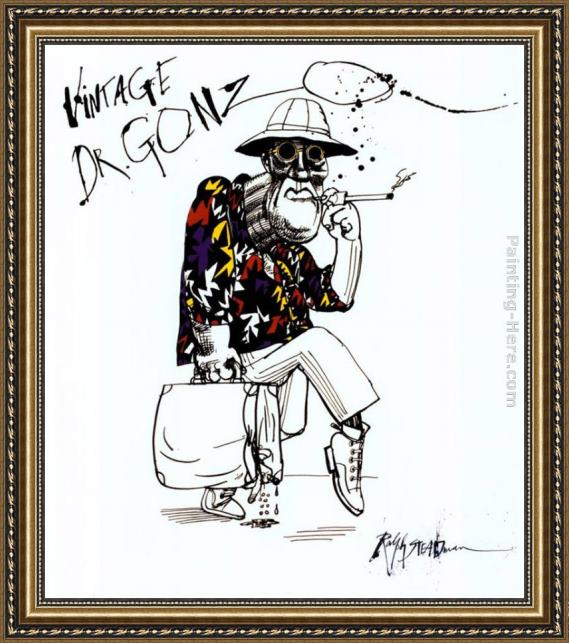 Ralph Steadman Art Fear And Loathing In Las Vegas I Framed Painting