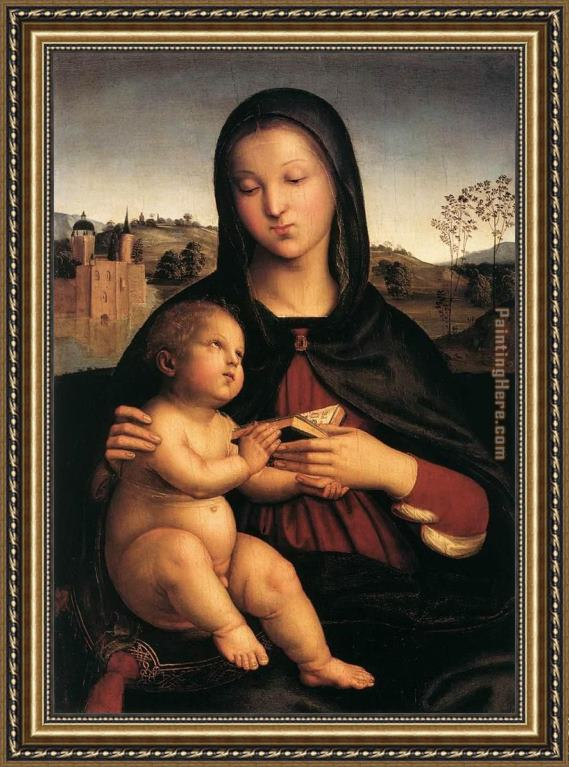 Raphael Madonna and Child with Book Framed Painting