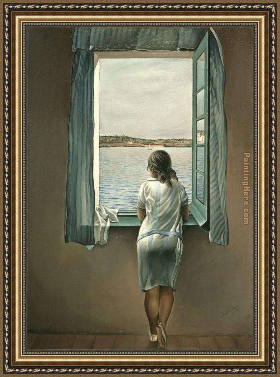 Salvador Dali Figure at a Window I Framed Painting