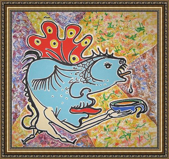 Salvador Dali the fish Framed Painting