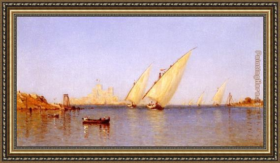 Sanford Robinson Gifford Fishing Boats Coming into Brindisi Harbor Framed Painting