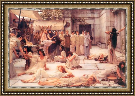 Sir Lawrence Alma-Tadema The Women of Amphissa Framed Painting