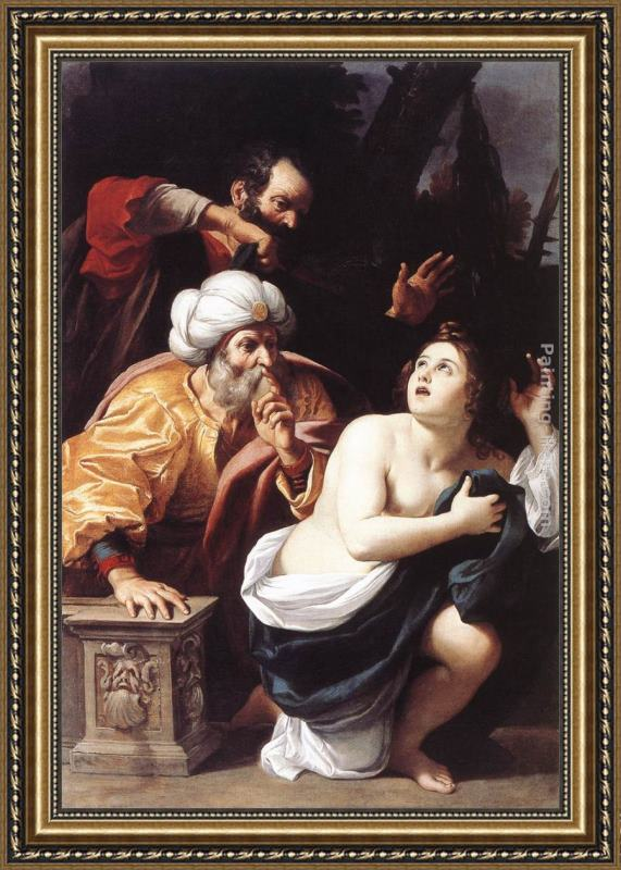 Sisto Badalocchio Susanna and the Elders Framed Painting