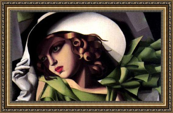 Tamara de Lempicka Girl in a Green Dress detail Framed Painting