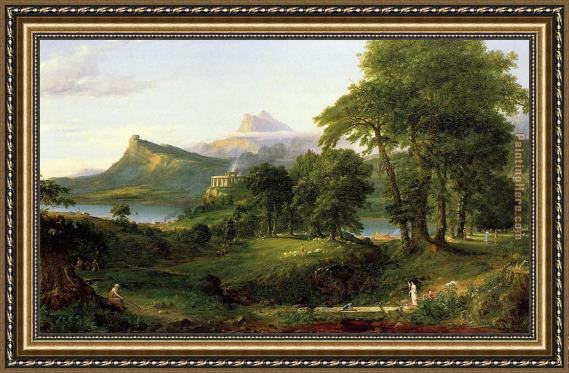Thomas Cole The Course of Empire The Arcadian or Pastoral State Framed Painting