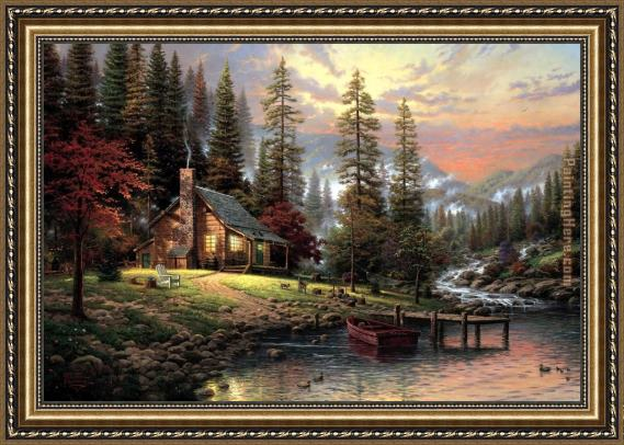 Thomas Kinkade A Peaceful Retreat Framed Painting