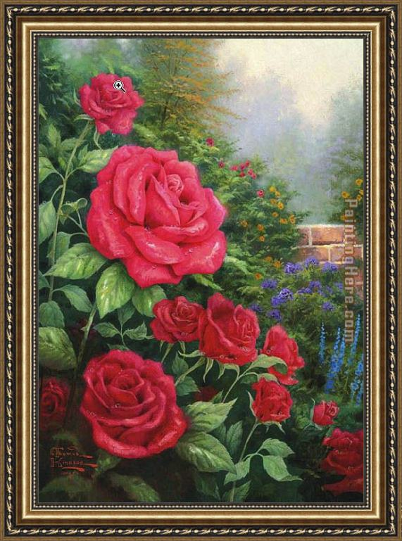 Thomas Kinkade A Perfect Red Rose Framed Painting