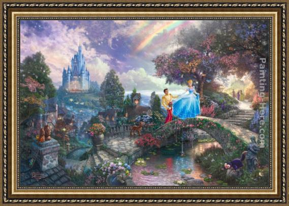 Thomas Kinkade Cinderella Wishes Upon a Dream Framed Painting