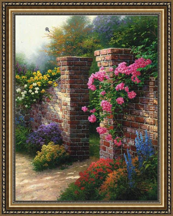 Thomas Kinkade The Rose Garden Framed Painting