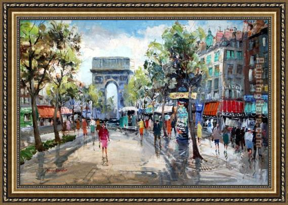 Unknown Artist Paris Street Scene Framed Painting For Sale