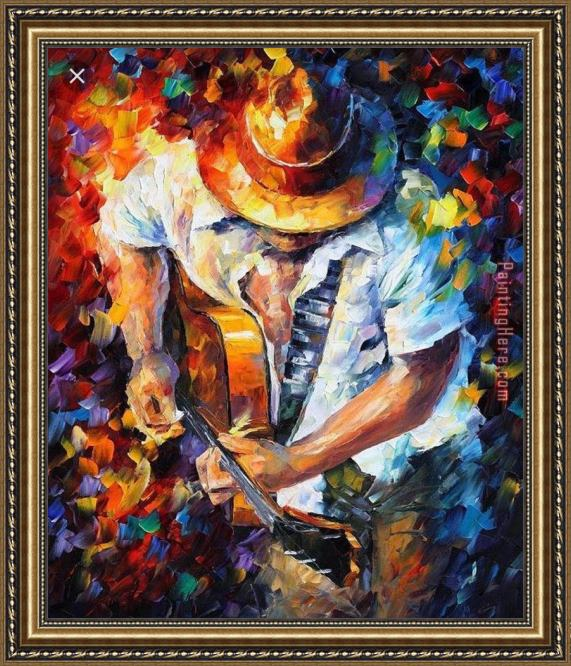 Unknown Artist Playing The Guitar Framed Painting