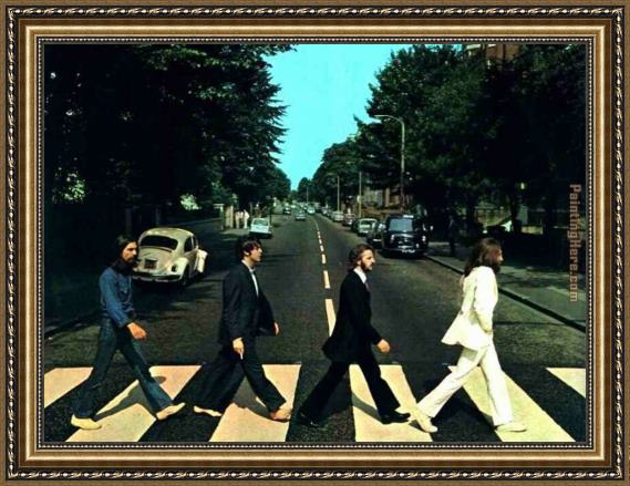 Unknown Artist the Beatles @ Abbey Road Framed Painting