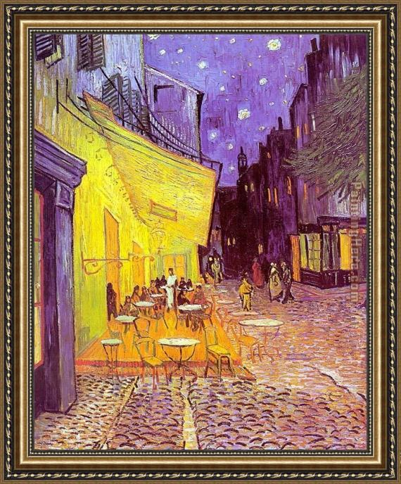 Vincent van Gogh Cafe Terrace at Night Framed Painting