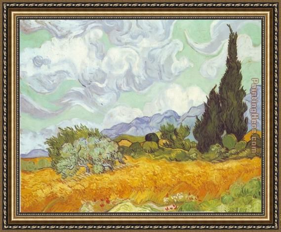 Vincent van Gogh Cornfield with Cypresses Framed Painting