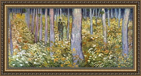 Fabulous Vincent van Gogh Couple walking in the forest Framed Painting for  BD92