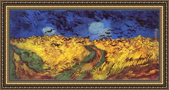 Unique Vincent van Gogh Crows over wheat field Framed Painting for sale  LA29