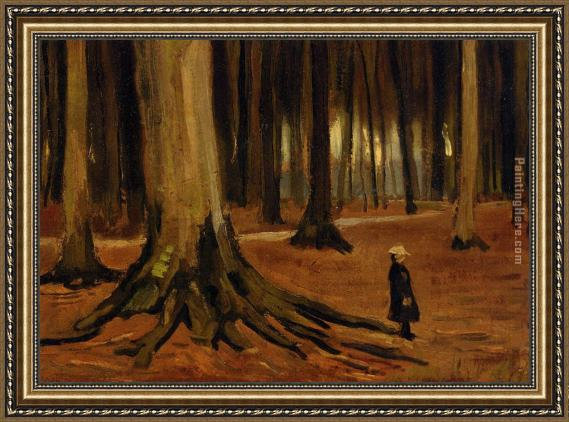 Vincent van Gogh Girl in the Woods Framed Painting
