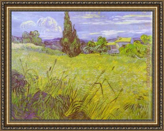 Unique Vincent van Gogh Green Wheat Field with Cypress. Saint-Remy Framed  ZQ63